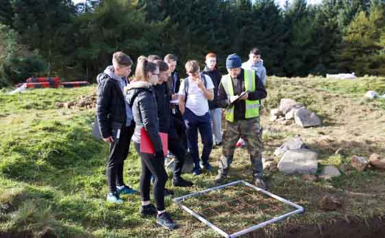 Ros O Maolduin instructing students from Tallaght Community School in Community Archaeology