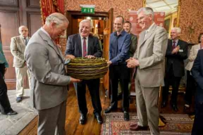 Prince Charles presented with a beautiful handwoven basket from Eamon Tobin