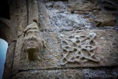 Carved head at Bonamargy Friary Antrim