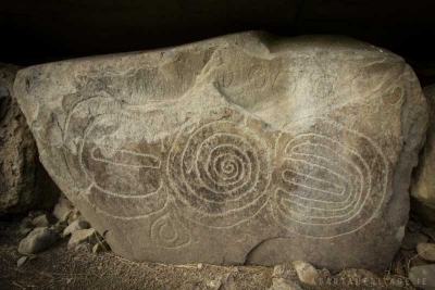 Megalithic art on one of the kerbstones at Knowth, County Meath