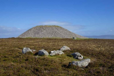 A view of Miosgán Meadhbha Maeves Cairn on Knocknarea Sligo. Although the cairn is unexcavated, it is believed to be a large passage tomb