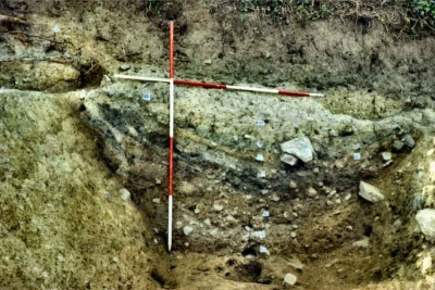 A section of the enclosure ditch during the excavation at Woodstown Viking Site Waterford (Courtesy of ACS Ltd)