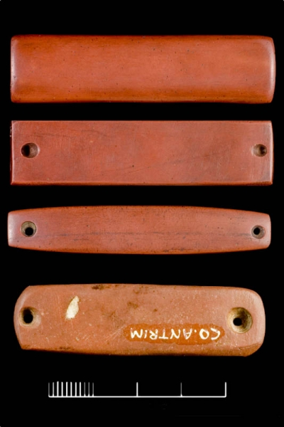 A selection of typical red jasper wrist-bracers from Ireland (after Roe and Woodward 2009, Fig.1). These wrist bracers are a key cultural signifier of the Beaker People
