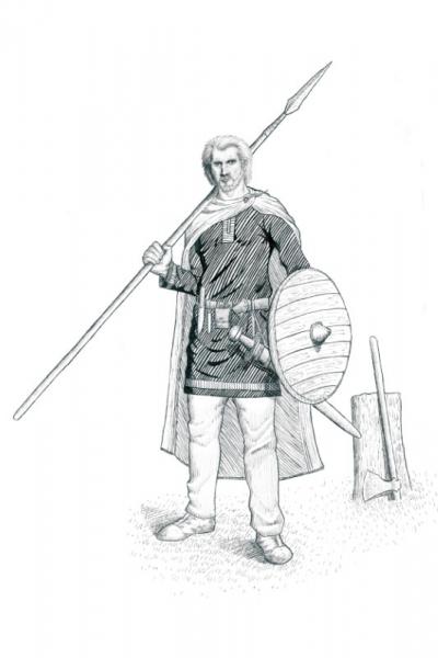 Artistic Interpretation of the Woodstown Warrior by JG O'Donoghue (courtesy of TII)