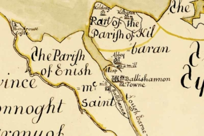 Detail from the mid-17th-century Down Survey map highlighting the settlement at Ballyshannon and Ballyhanna (courtesy of the Deputy Keeper of the Records, Public Record Office of Northern Ireland, ref. D597/3/1.).