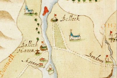 Detail from 'A true description of the Norwest partes of Irelande' from c. 1600, the work 'collected and observed by Captain John Baxter. Finished by Baptista Boazio', showing the Erne estuary (© National Maritime Museum, Greenwich, London, ref. MS P/49 (7))
