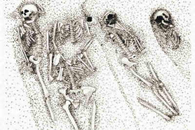 Stylised depiction of a typical group of skeletons at Ballyhanna, demonstrating the crowded nature of the burial ground and the extensive intercutting of the burials - this audiobook helps to tell their stories from the grave