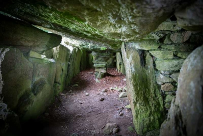The interior of Labbacallee Wedge Tomb, County Cork.