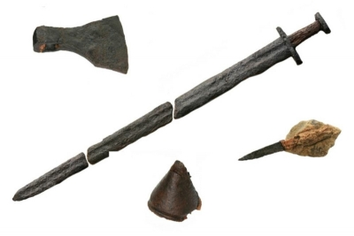 The weapons found in the Viking Grave at Woodstown Waterford (Courtesy of ACS Ltd and TII)