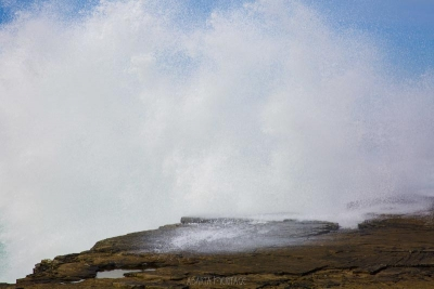 A photograph of sea spray at the Kilkee Cliffs