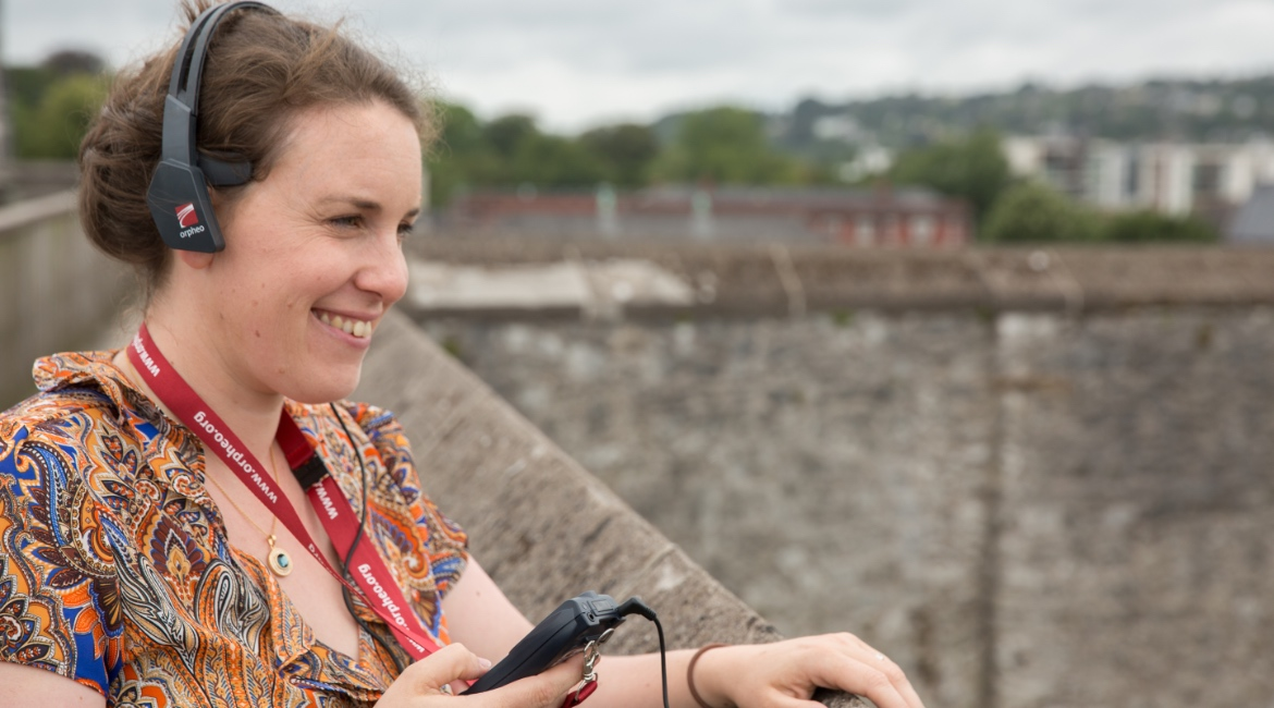 Róisín Burke of Abarta Heritage at Elizabeth Fort trying out our Audio Guide System part of our Heritage Interpretation Services