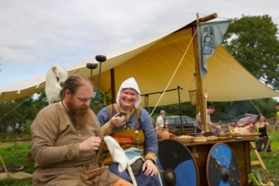 Kate Gwilliam of Vikings UK at Woodstown Viking Site for Heritage Week