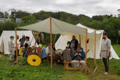 Reenactors and members of Ulfhednar Hird Ireland at Woodstown Viking Site on the Waterford Greenway