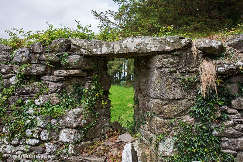 Oghamstone reused as a lintel at Knockboy Church Waterford