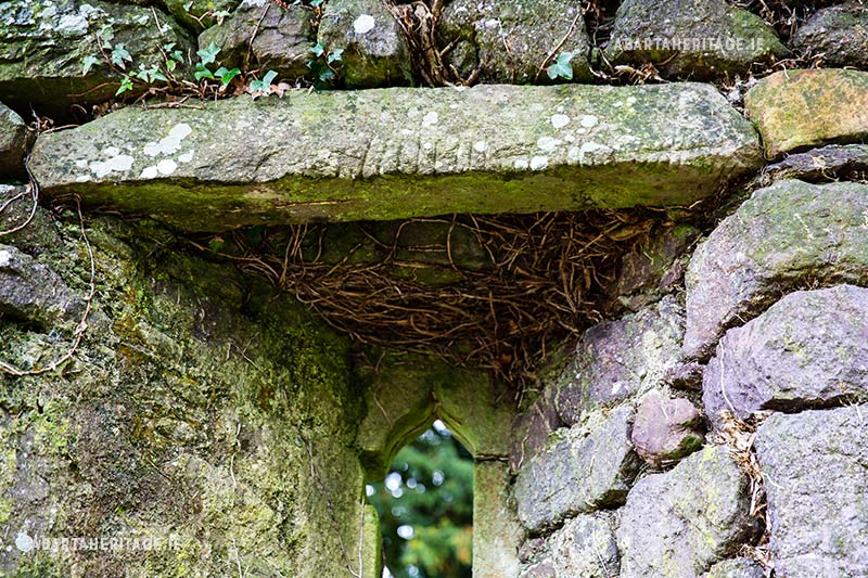 Ogham stone reused as a lintel at Knockboy Church Waterford