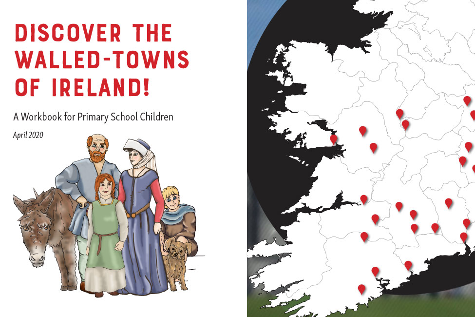 Cover of IWTN Children's booklet depicting a Medieval family & a map of Ireland with the IWTN towns marked in